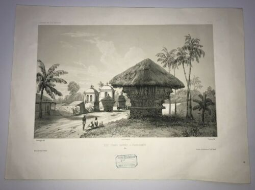 PONDICHERY INDIA c. 1850 by LAUVERGNE LARGE UNUSUAL ANTIQUE LITHOGRAPHIC VIEW