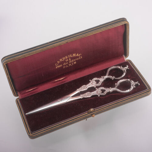 ANTIQUE FRENCH STERLING SILVER GRAPE SCISSORS W/BOX CARDEILHAC CANAUX ROCOCO 19C