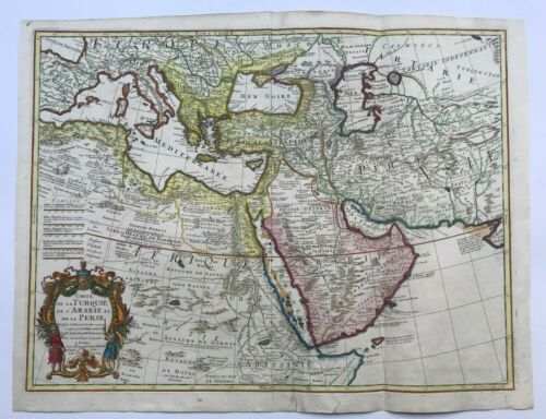 TURKEY ARABIA PERSIA DATED 1701 GUILLAUME DELISLE LARGE ANTIQUE MAP 18TH CENTURY