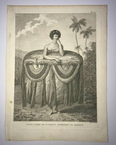 TAHITI WOMAN 1780 JAMES COOK UNUSUAL ANTIQUE ENGRAVED VIEW 18TH CENTURY
