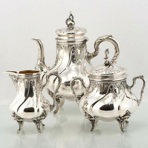 ANTIQUE GERMAN SOLID 800 GILT SILVER TEA SERVICE SET POT SUGAR BOWL CREAMER 3PC
