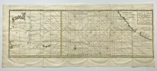 PACIFIC PHILIPPINES CALIFORNIA MEXICO 1749 GEORGE ANSON VERY LARGE ANTIQUE MAP