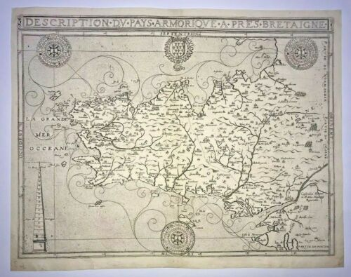 BRITTANY BRETAGNE FRANCE 1591 BOUGUEREAU VERY UNUSUAL LARGE ANTIQUE MAP