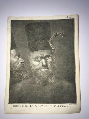 NEW CALEDONIA MAN 1780 VOYAGE JAMES COOK NICE ANTIQUE VIEW 18TH CENTURY