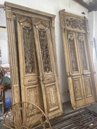 Incredible Architectural Antique Large Set French Entrance Doors & Iron Windows