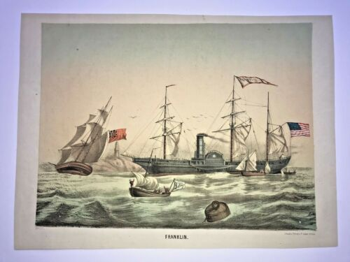 THE AMERICAN FLEET SHIP FRANKLIN 1870 19TH CENTURY LARGE LITHOGRAPHIC VIEW