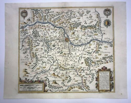 MESSIN METZ FRANCE 1617 JEAN LE CLERC LARGE UNUSUAL ANTIQUE MAP 17TH CENTURY