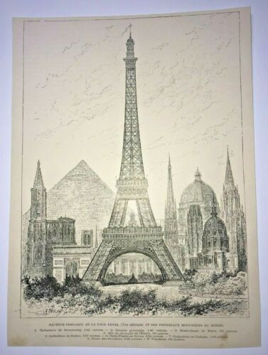 PARIS EIFFEL TOWER 1889 ANTIQUE VIEW COMPARATIVE OF HEIGHT WITH OTHER EDIFICES