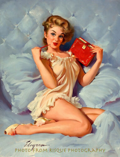 """Nightie-Clad Woman in Bed With Diary 8.5x11"""" Photo Print Gil Elvgren Pinup Art"""