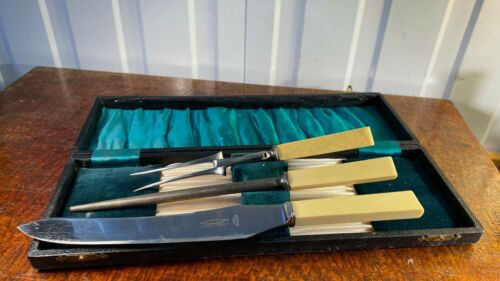 Antique English Sheffield Hottershaw & Rowe Carving Set in Original Box