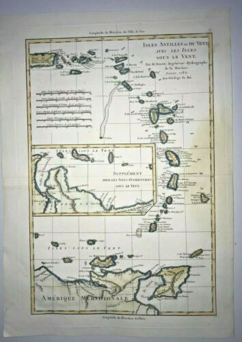 CARIBBEAN DATED 1782 by RIGOBERT BONNE ANTIQUE ENGRAVED MAP 18TH CENTURY
