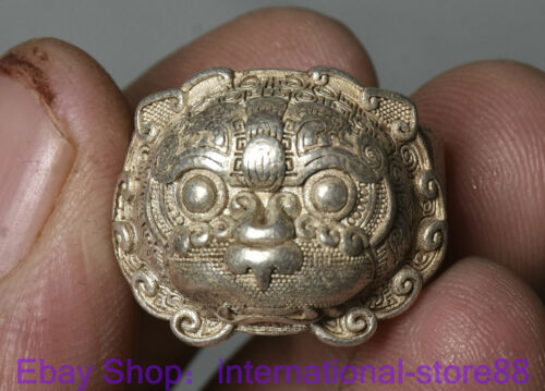 2.5CM Rare Old Chinese Miao Silver Dynasty Palace Beast Head Ring