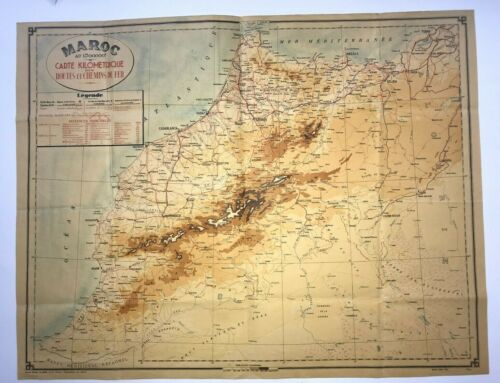 MOROCCO DATED 1946 VERY LARGE MAP ANTIQUE COLORS