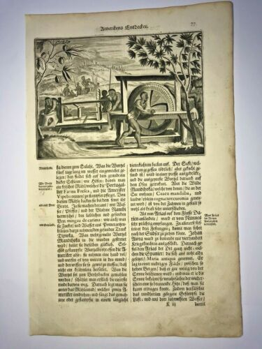 DISCOVERY OF AMERICA 1673 MONTANUS RARE ANTIQUE ENGRAVED VIEW 17TH CENTURY