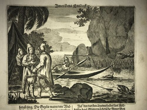 HUNTING IN AMERICA 1673 MONTANUS RARE ANTIQUE ENGRAVED VIEW 17TH CENTURY