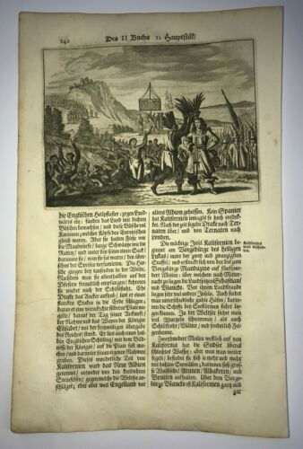 DISCOVERY OF CALIFORNIA 1673 MONTANUS RARE ANTIQUE ENGRAVED VIEW 17TH CENTURY