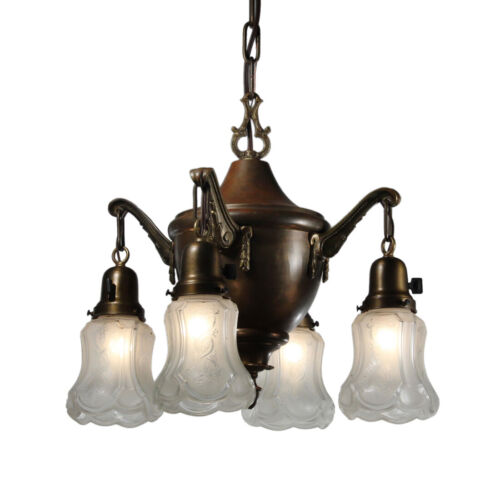 Antique Bronze Neoclassical Chandelier with Original Shades, c. 1920s, NC3860
