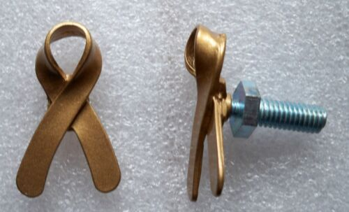 Childhood Cancer Awareness gold ribbon license plate bolts