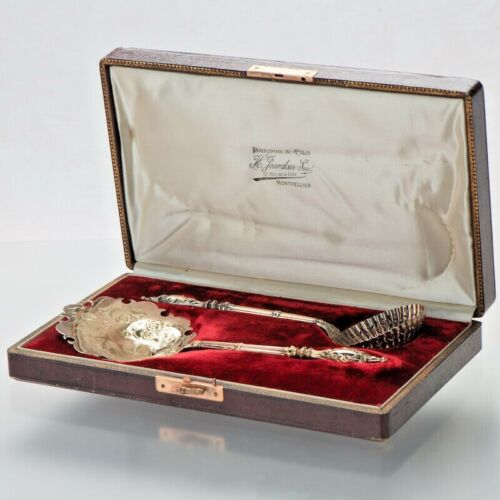 ANTIQUE FRENCH STERLING SILVER STRAWBERRY SERVER SERVING SET 2PC W/BOX CASE GILT