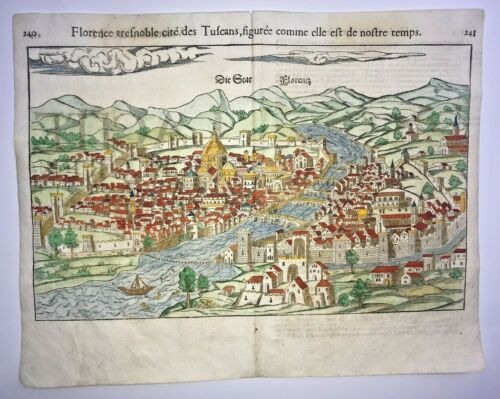 FLORENCE ITALY 1568 SEBASTIAN MUNSTER LARGE UNUSUAL ANTIQUE VIEW 16TH CENTURY
