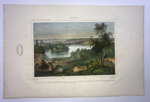 FRENCH GARDENS MORFONTAINE 1835 by VERGNAUD ANTIQUE LITHOGRAPHIC VIEW