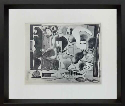 """Le CORBUSIER Lithograph SIGNED """"Composition with Three Figures"""" 1923 w/Frame"""