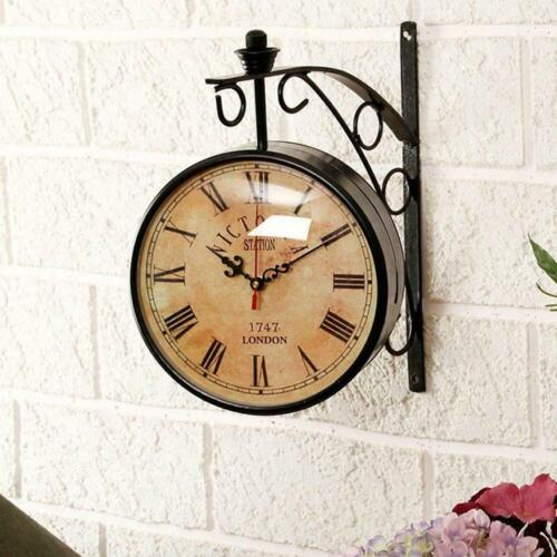 Victoria Station Clock-4inch Antique Brass Double Sided Railway Clock-Nautical