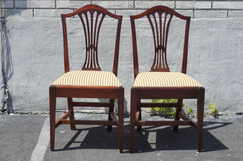 Pair of Mahogany English Dining Room Side Chairs Newly Upholstered & Restored