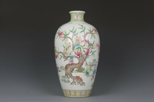 Fine Beautiful Chinese Famille Rose Porcelain Peach & Lad Vase