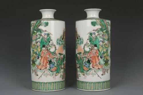 Fine Beautiful Chinese Pair Five Color Porcelain Eight Immortals Vases