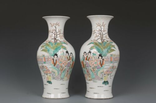 Fine Beautiful Chinese Pair Famille Rose Porcelain Beauty Vases