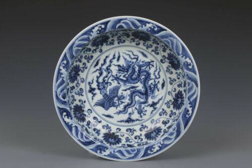 Fine Beautiful Chinese Blue and White Porcelain Phoenix and Dragon Plate