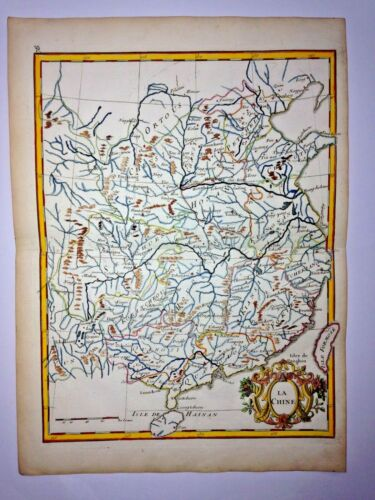 CHINA TAIWAN 1756 Georges-Louis LE ROUGE ANTIQUE ENGRAVED MAP 18TH CENTURY