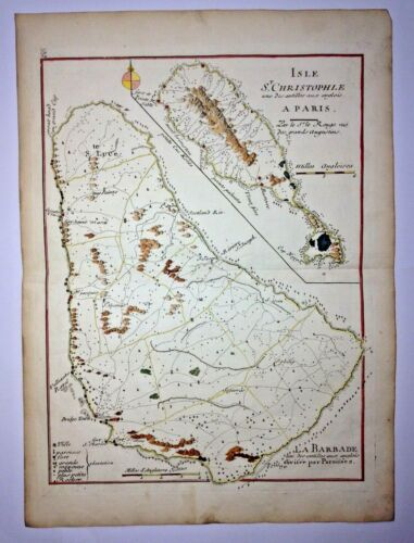 BARBADOS ST CHRISTOPHE 1746 by LE ROUGE ANTIQUE ENGRAVED MAP 18TH CENTURY