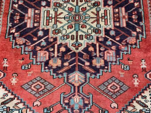 4'3 x 6'5 Pictorial Kurdish S Antique Tribal Hand Knotted Oriental Wool Area Rug