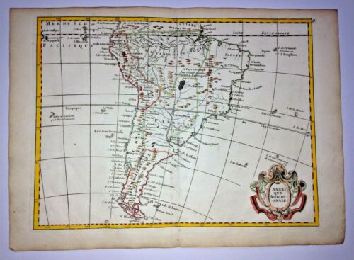 SOUTH  AMERICA 1756 Georges-Louis LE ROUGE ANTIQUE ENGRAVED MAP 18TH CENTURY
