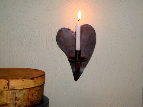 Primitive Early 17th ~ 18th C. Style Heart Shape Tin Wall Sconce Candle Holder