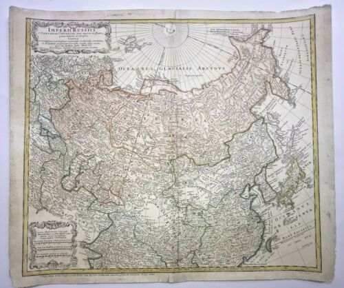 RUSSIA CHINA KOREA DATED 1739 HOMANN HRS & HAAS LARGE ANTIQUE ENGRAVED MAP