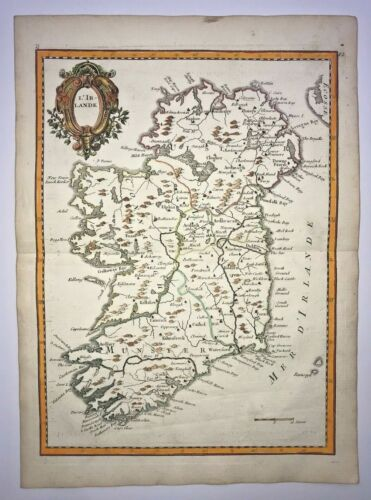 IRELAND 1756 by LE ROUGE NICE ANTIQUE ENGRAVED MAP 18TH CENTURY
