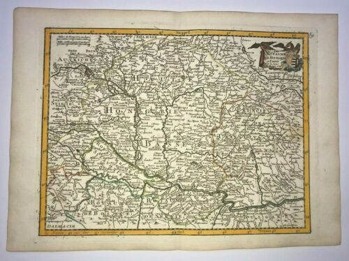 KINGDOM OF HUNGARY 1743 GEORGES LOUIS LE ROUGE ANTIQUE ENGRAVED MAP 18TH CENTURY