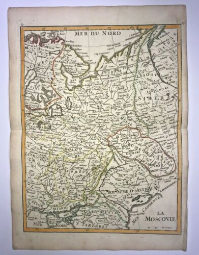 RUSSIA MOSCOVIA 1746 by GUSTAVE LE ROUGE ANTIQUE ENGRAVED MAP 18TH CENTURY