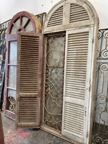 Architectural Antique Dome Top Wimdow With French Shutters & Wrought Iron Insert