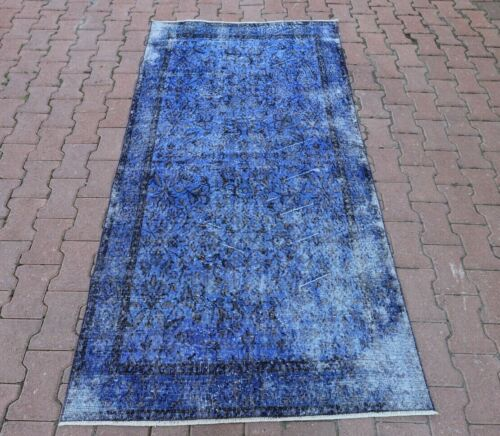 Oushak Hand Knotted Oriental Blue Area Rug Vintage Overdyed Wool Carpet 4x7 ft