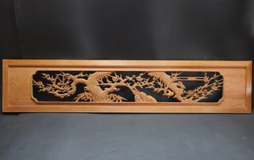 rum2103 JAPANESE WOOD SCULPTURE RANMA UME BLOSSOMS 69.8 inch / 177.3 cm Width