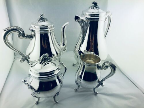 CHRISTOFLE MARLY Silver Plate Tea Coffee set Louis XV 4 Pcs TOP CONDITION! N°2