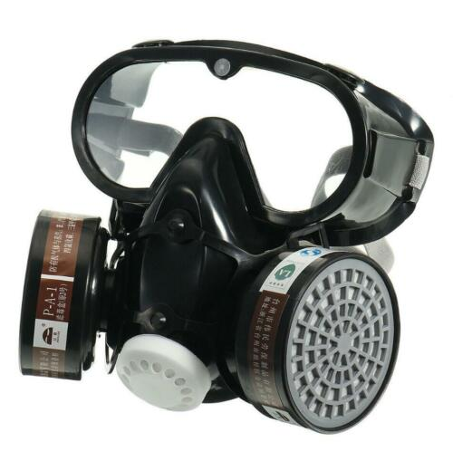 Safety Dustproof Respirator Gas Face Mask Chemical Filter Military Eye GoggleSurplus - 36075