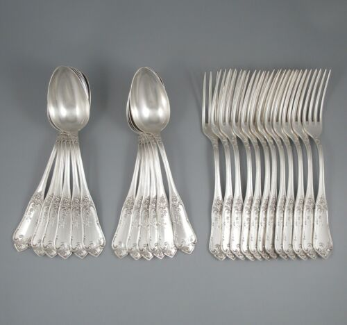 Antique French Silver Plated Flatware Set, Boulenger, Flowers and Leaves, 24 pcs
