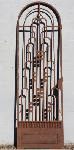 Art Deco Architectural Antique Solid Wrought Iron Side / Entrance Gate / Door