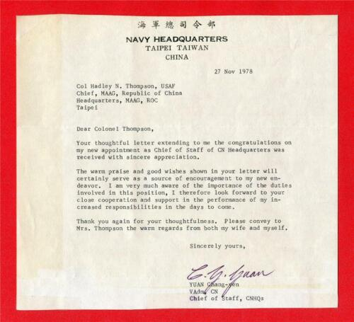 Rare historical letter to Col.Thompson from Navy Headquarters ~ Taipei TaiwanOriginal Period Items - 13983