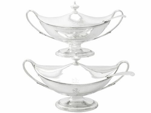Antique George III Sterling Silver Sauce Tureens with Ladles,  Adams Style